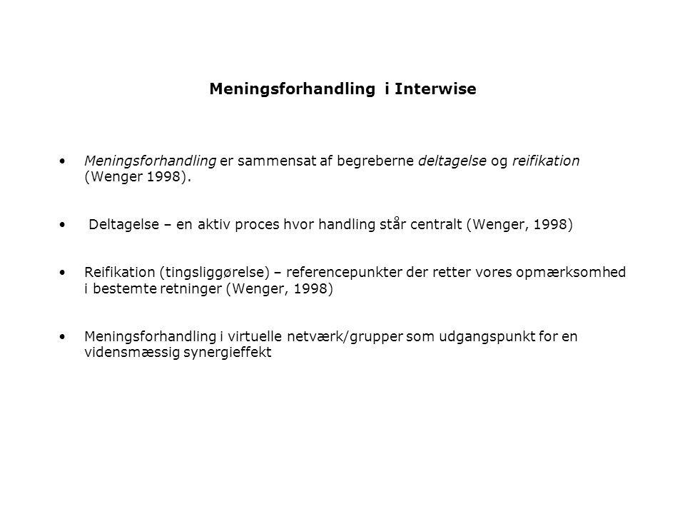 Meningsforhandling i Interwise Meningsforhandling er sammensat af begreberne deltagelse og reifikation (Wenger 1998).
