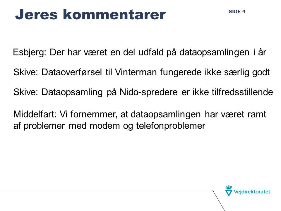 SIDE 4 Jeres kommentarer Esbjerg: Der har været en del udfald på dataopsamlingen i år Skive: Dataoverførsel til Vinterman fungerede ikke særlig godt Skive: Dataopsamling på Nido-spredere er ikke tilfredsstillende Middelfart: Vi fornemmer, at dataopsamlingen har været ramt af problemer med modem og telefonproblemer