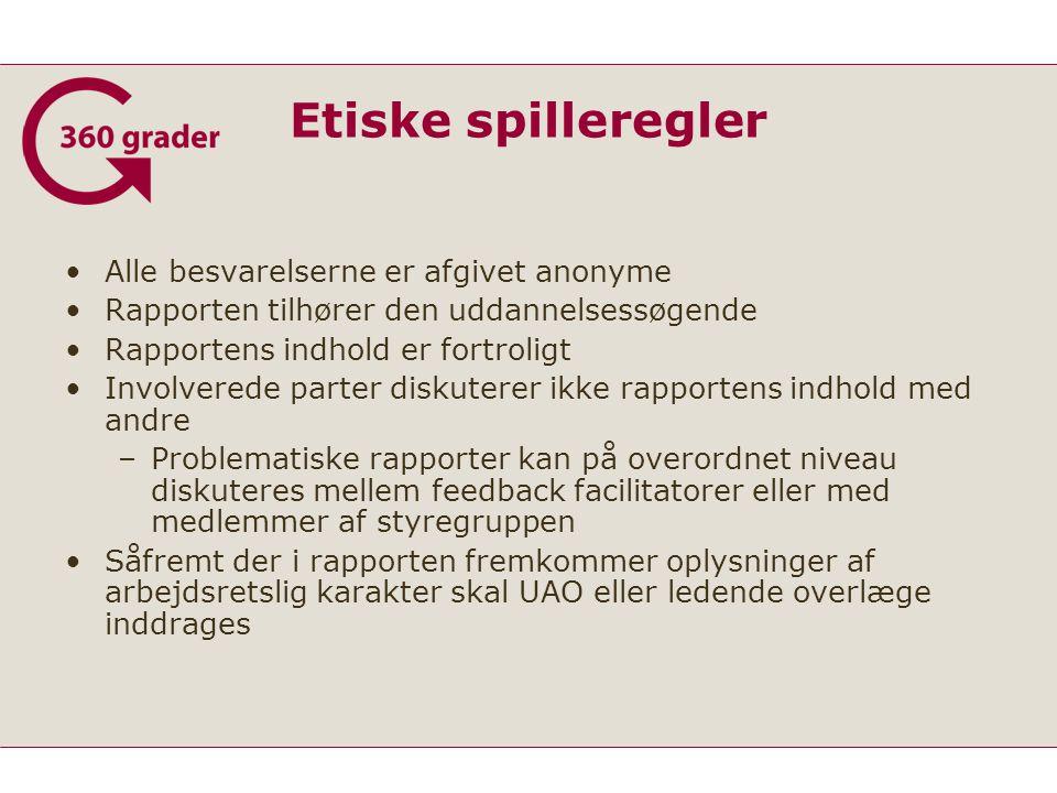 Etiske spilleregler Alle besvarelserne er afgivet anonyme Rapporten tilhører den uddannelsessøgende Rapportens indhold er fortroligt Involverede parter diskuterer ikke rapportens indhold med andre –Problematiske rapporter kan på overordnet niveau diskuteres mellem feedback facilitatorer eller med medlemmer af styregruppen Såfremt der i rapporten fremkommer oplysninger af arbejdsretslig karakter skal UAO eller ledende overlæge inddrages
