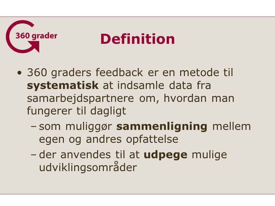Definition 360 graders feedback er en metode til systematisk at indsamle data fra samarbejdspartnere om, hvordan man fungerer til dagligt –som muliggør sammenligning mellem egen og andres opfattelse –der anvendes til at udpege mulige udviklingsområder