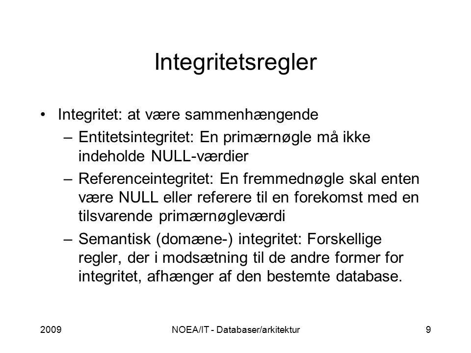 2009NOEA/IT - Databaser/arkitektur9 Integritetsregler Integritet: at være sammenhængende –Entitetsintegritet: En primærnøgle må ikke indeholde NULL-værdier –Referenceintegritet: En fremmednøgle skal enten være NULL eller referere til en forekomst med en tilsvarende primærnøgleværdi –Semantisk (domæne-) integritet: Forskellige regler, der i modsætning til de andre former for integritet, afhænger af den bestemte database.