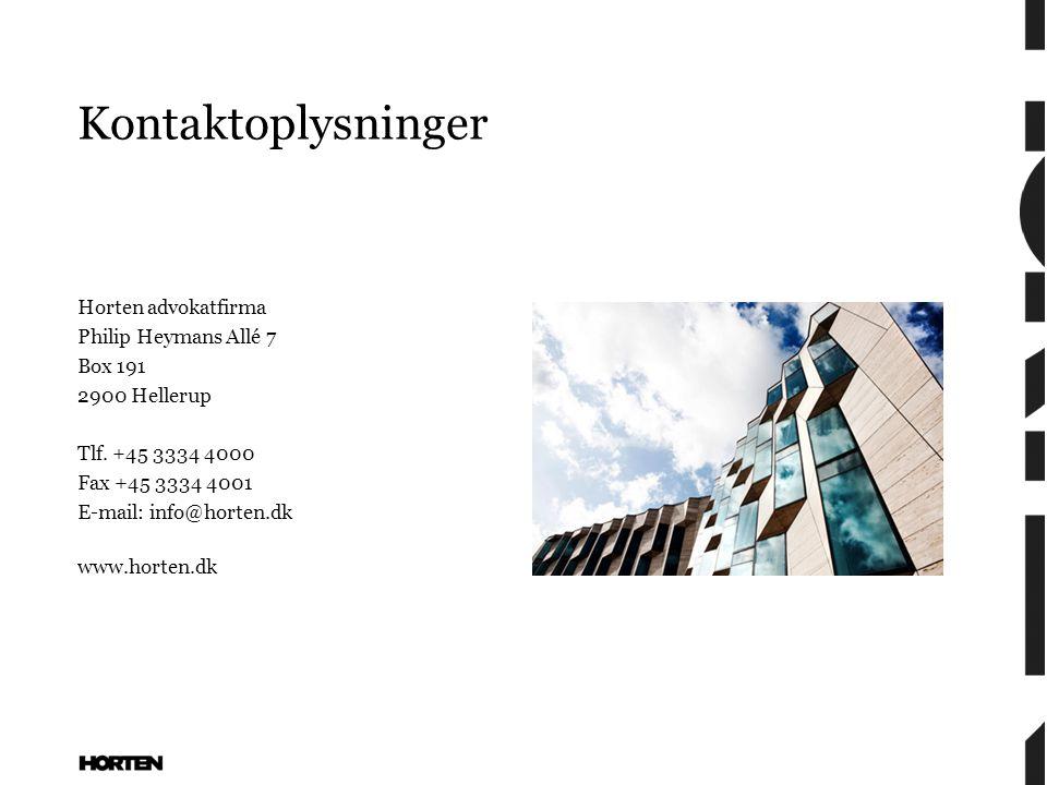 Kontaktoplysninger Horten advokatfirma Philip Heymans Allé 7 Box 191 2900 Hellerup Tlf.