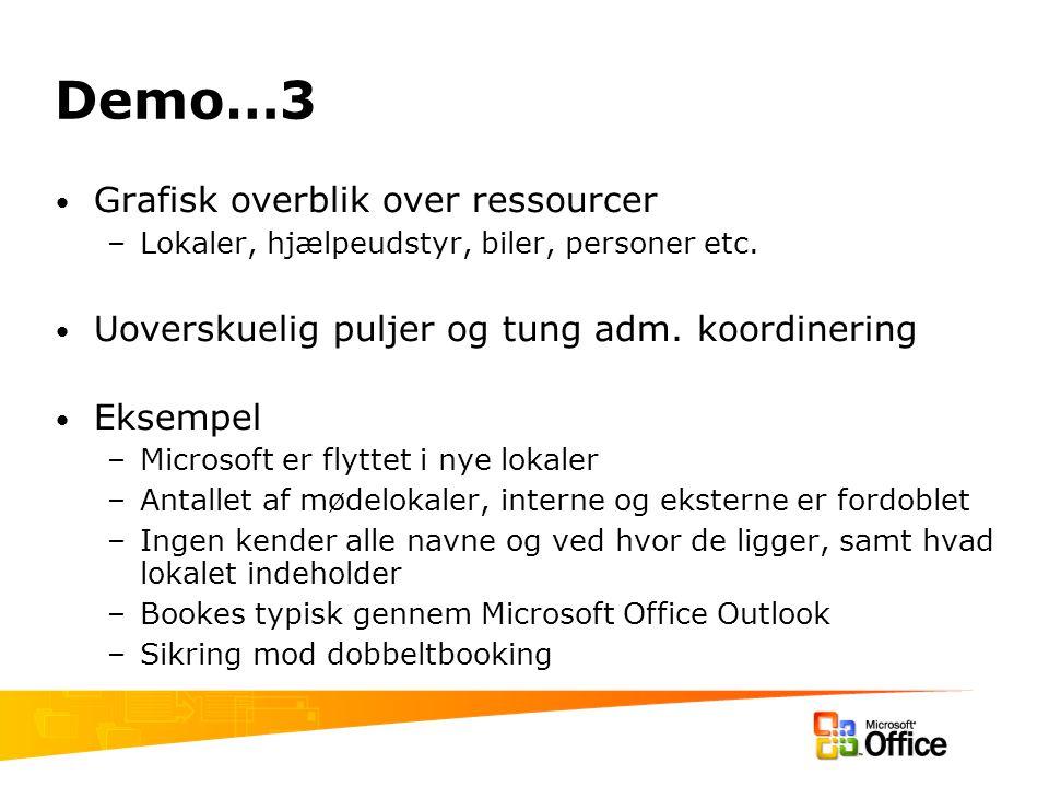 Demo…3 Grafisk overblik over ressourcer –Lokaler, hjælpeudstyr, biler, personer etc.