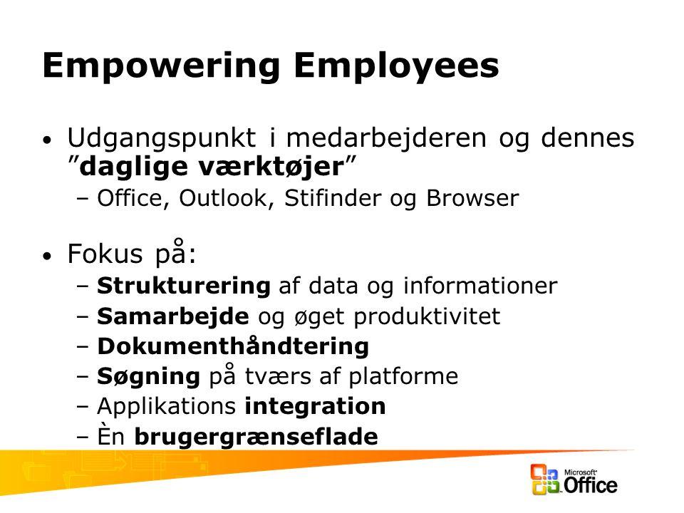 Empowering Employees Udgangspunkt i medarbejderen og dennes daglige værktøjer –Office, Outlook, Stifinder og Browser Fokus på: –Strukturering af data og informationer –Samarbejde og øget produktivitet –Dokumenthåndtering –Søgning på tværs af platforme –Applikations integration –Èn brugergrænseflade