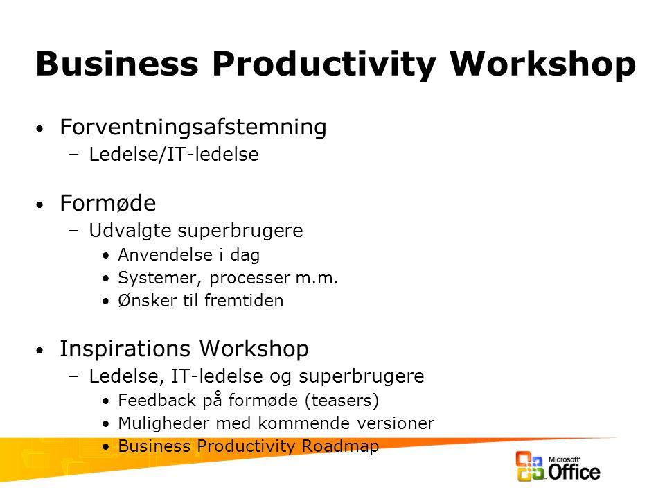 Business Productivity Workshop Forventningsafstemning –Ledelse/IT-ledelse Formøde –Udvalgte superbrugere Anvendelse i dag Systemer, processer m.m.