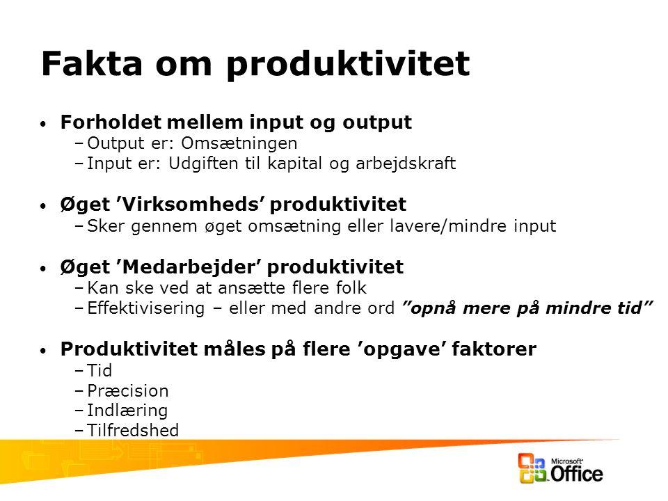 Fakta om produktivitet Forholdet mellem input og output –Output er: Omsætningen –Input er: Udgiften til kapital og arbejdskraft Øget 'Virksomheds' produktivitet –Sker gennem øget omsætning eller lavere/mindre input Øget 'Medarbejder' produktivitet –Kan ske ved at ansætte flere folk –Effektivisering – eller med andre ord opnå mere på mindre tid Produktivitet måles på flere 'opgave' faktorer –Tid –Præcision –Indlæring –Tilfredshed