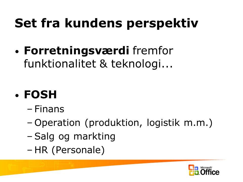 Set fra kundens perspektiv Forretningsværdi fremfor funktionalitet & teknologi...