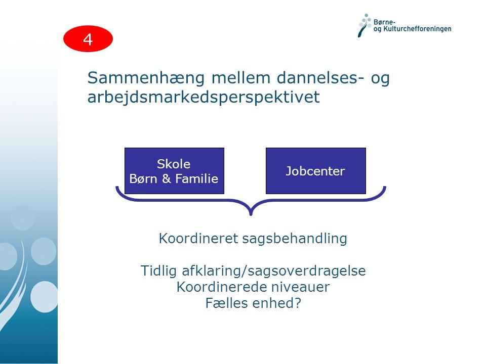 Sammenhæng mellem dannelses- og arbejdsmarkedsperspektivet 4 Skole Børn & Familie Jobcenter Koordineret sagsbehandling Tidlig afklaring/sagsoverdragelse Koordinerede niveauer Fælles enhed