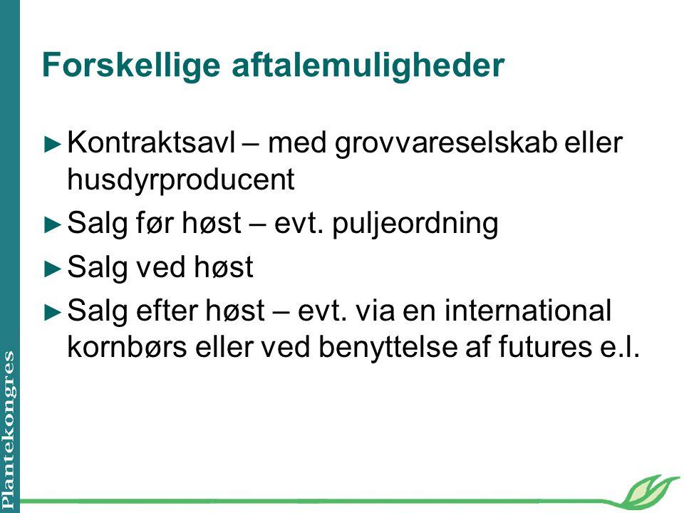 Forskellige aftalemuligheder ► Kontraktsavl – med grovvareselskab eller husdyrproducent ► Salg før høst – evt.