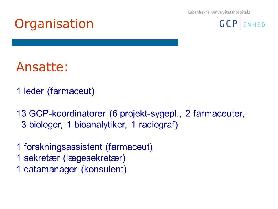 Organisation Ansatte: 1 leder (farmaceut) 13 GCP-koordinatorer (6 projekt-sygepl., 2 farmaceuter, 3 biologer, 1 bioanalytiker, 1 radiograf) 1 forskningsassistent (farmaceut) 1 sekretær (lægesekretær) 1 datamanager (konsulent)