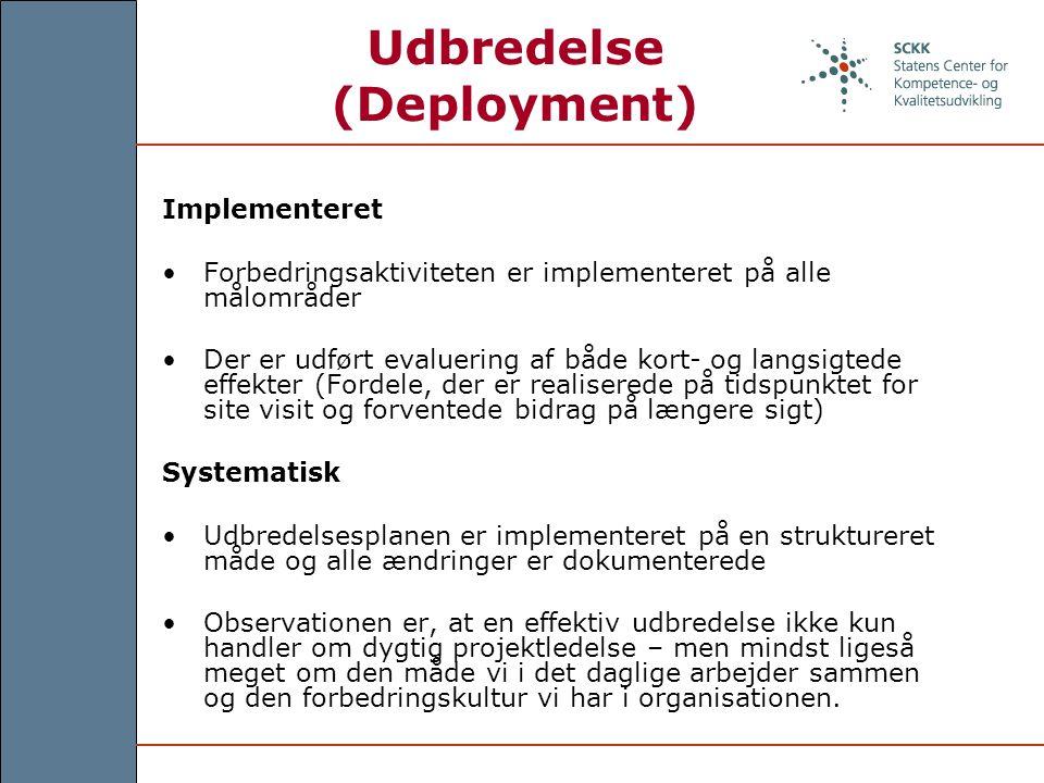 Udbredelse (Deployment) Implementeret Forbedringsaktiviteten er implementeret på alle målområder Der er udført evaluering af både kort- og langsigtede effekter (Fordele, der er realiserede på tidspunktet for site visit og forventede bidrag på længere sigt) Systematisk Udbredelsesplanen er implementeret på en struktureret måde og alle ændringer er dokumenterede Observationen er, at en effektiv udbredelse ikke kun handler om dygtig projektledelse – men mindst ligeså meget om den måde vi i det daglige arbejder sammen og den forbedringskultur vi har i organisationen.