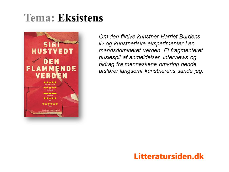 Om den fiktive kunstner Harriet Burdens liv og kunstneriske eksperimenter i en mandsdomineret verden.