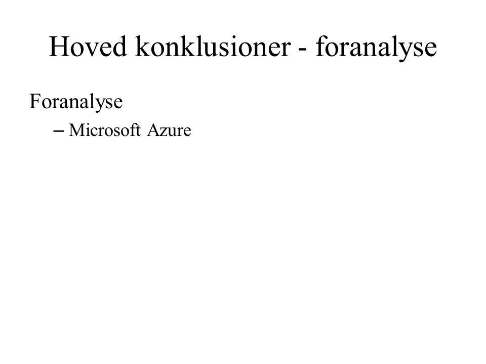 Hoved konklusioner - foranalyse Foranalyse – Microsoft Azure