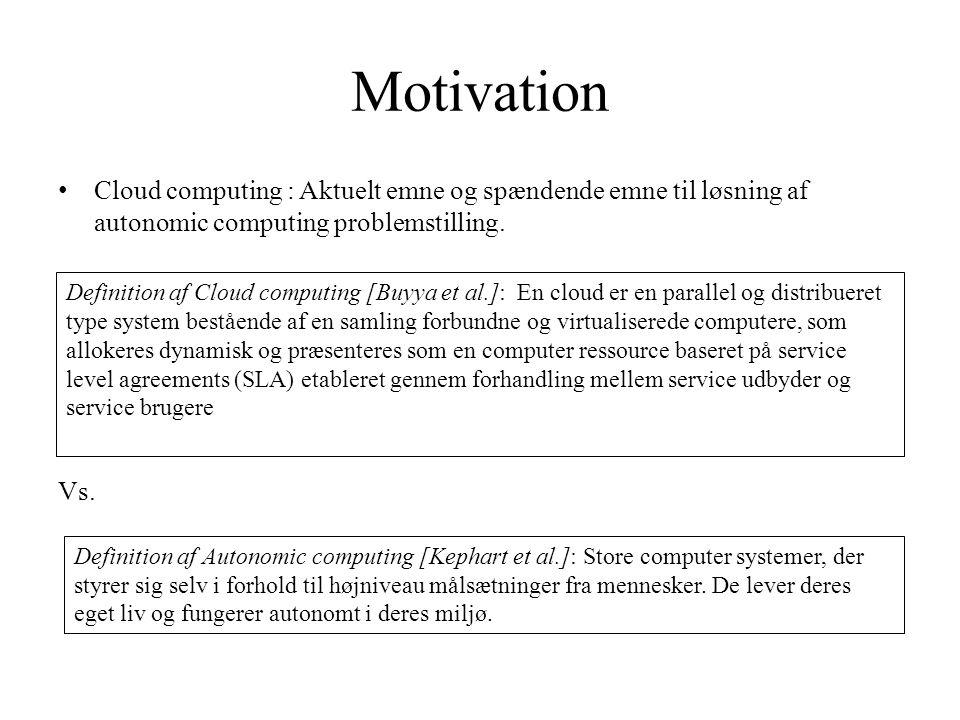 Motivation Cloud computing : Aktuelt emne og spændende emne til løsning af autonomic computing problemstilling.