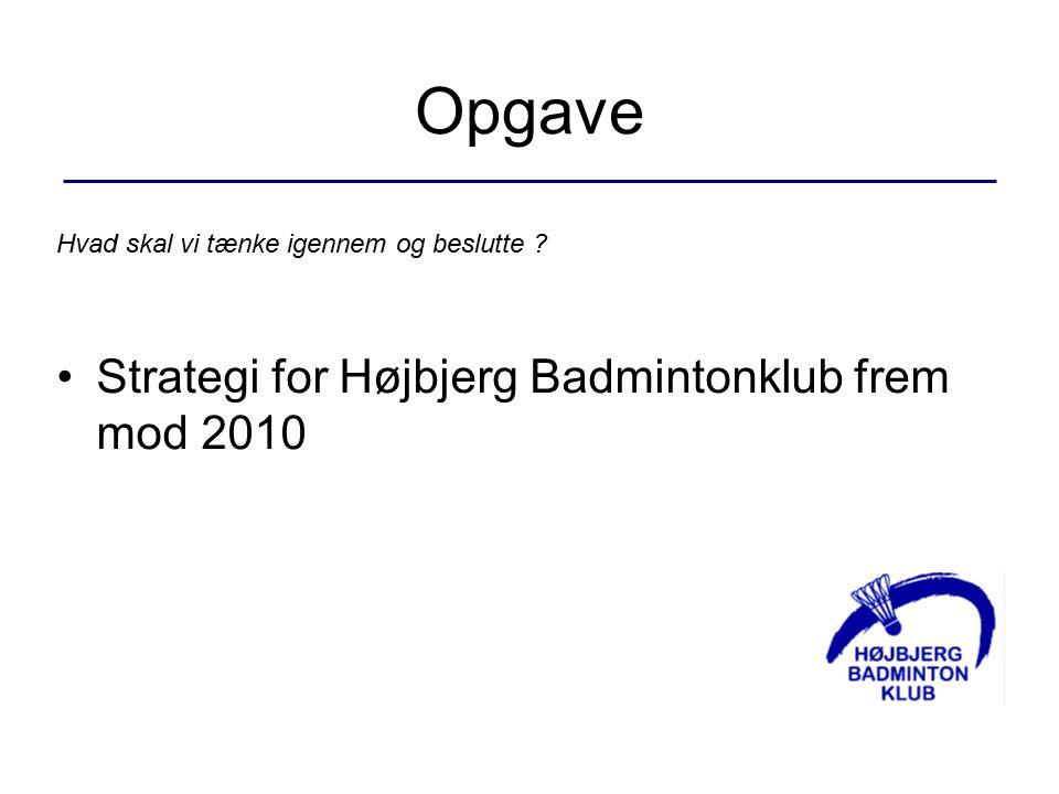 Hvad skal vi tænke igennem og beslutte Strategi for Højbjerg Badmintonklub frem mod 2010 Opgave