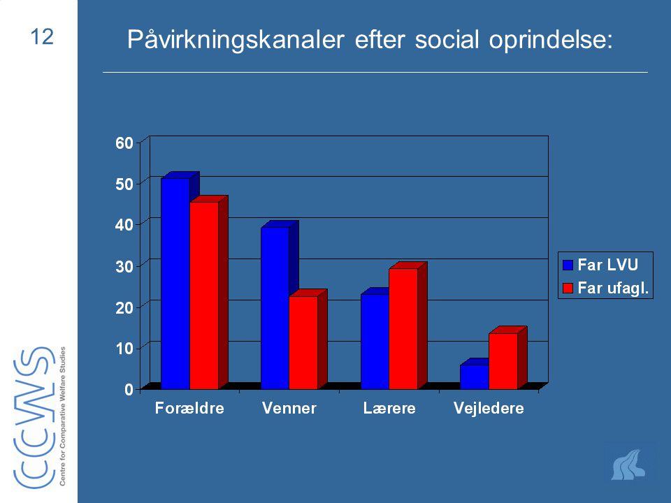 12 Påvirkningskanaler efter social oprindelse:
