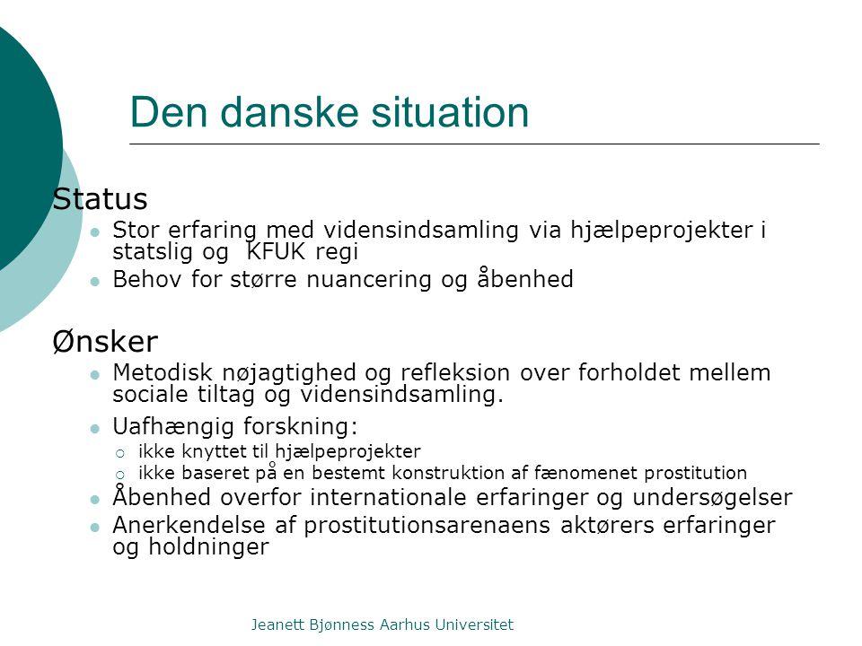 Den danske situation Status Stor erfaring med vidensindsamling via hjælpeprojekter i statslig og KFUK regi Behov for større nuancering og åbenhed Ønsker Metodisk nøjagtighed og refleksion over forholdet mellem sociale tiltag og vidensindsamling.