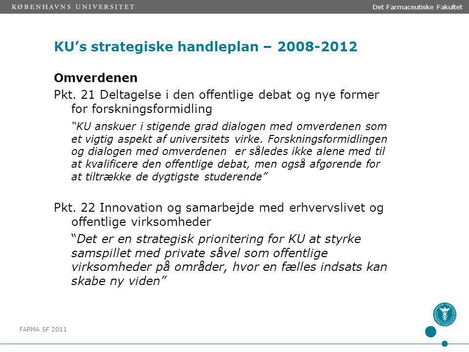 FARMA SF 2011 KU's strategiske handleplan – 2008-2012 Omverdenen Pkt.