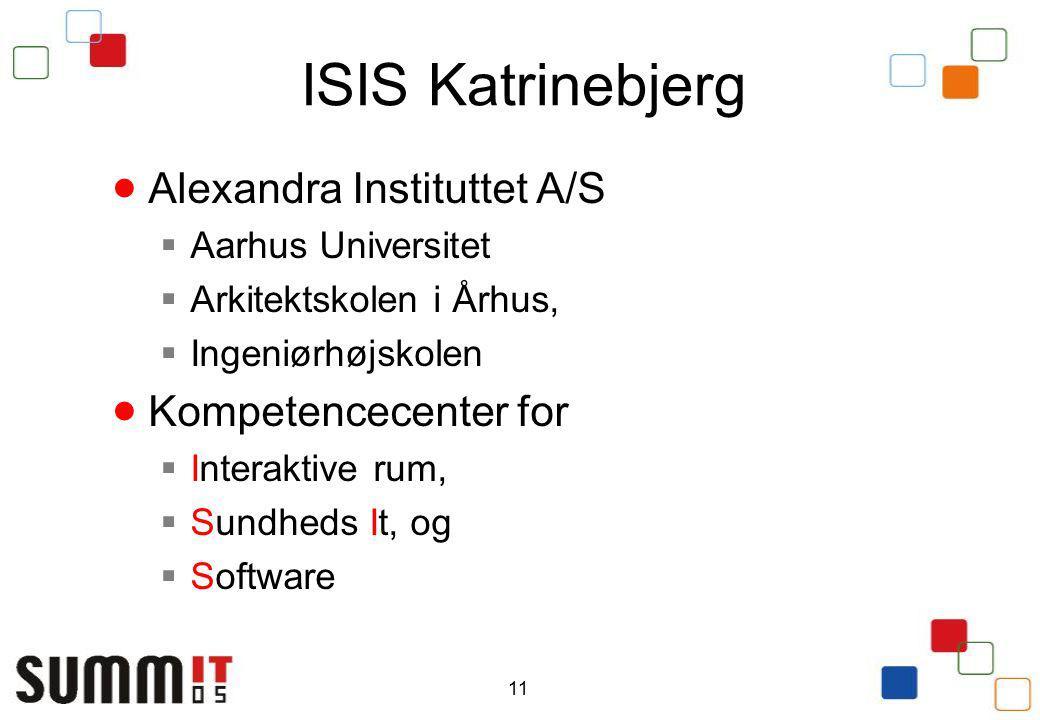 11 ISIS Katrinebjerg  Alexandra Instituttet A/S  Aarhus Universitet  Arkitektskolen i Århus,  Ingeniørhøjskolen  Kompetencecenter for  Interaktive rum,  Sundheds It, og  Software