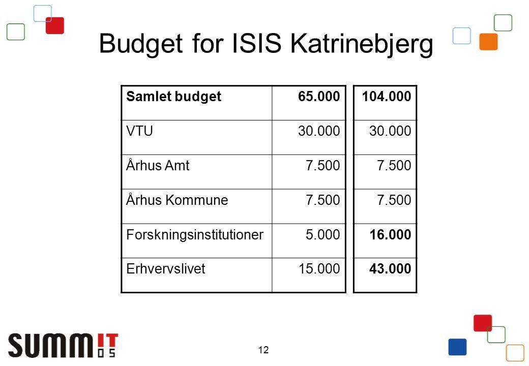 12 Budget for ISIS Katrinebjerg Samlet budget65.000 VTU30.000 Århus Amt7.500 Århus Kommune7.500 Forskningsinstitutioner5.000 Erhvervslivet15.000 104.000 30.000 7.500 16.000 43.000