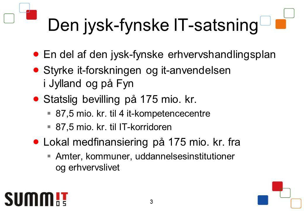3 Den jysk-fynske IT-satsning  En del af den jysk-fynske erhvervshandlingsplan  Styrke it-forskningen og it-anvendelsen i Jylland og på Fyn  Statslig bevilling på 175 mio.