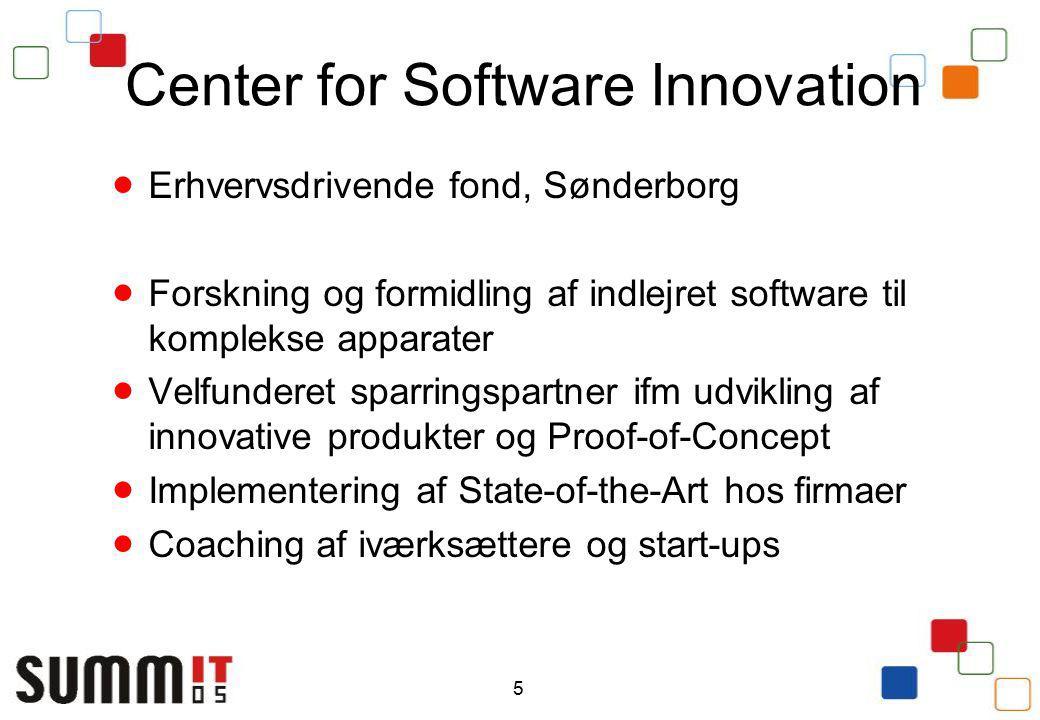 5 Center for Software Innovation  Erhvervsdrivende fond, Sønderborg  Forskning og formidling af indlejret software til komplekse apparater  Velfunderet sparringspartner ifm udvikling af innovative produkter og Proof-of-Concept  Implementering af State-of-the-Art hos firmaer  Coaching af iværksættere og start-ups