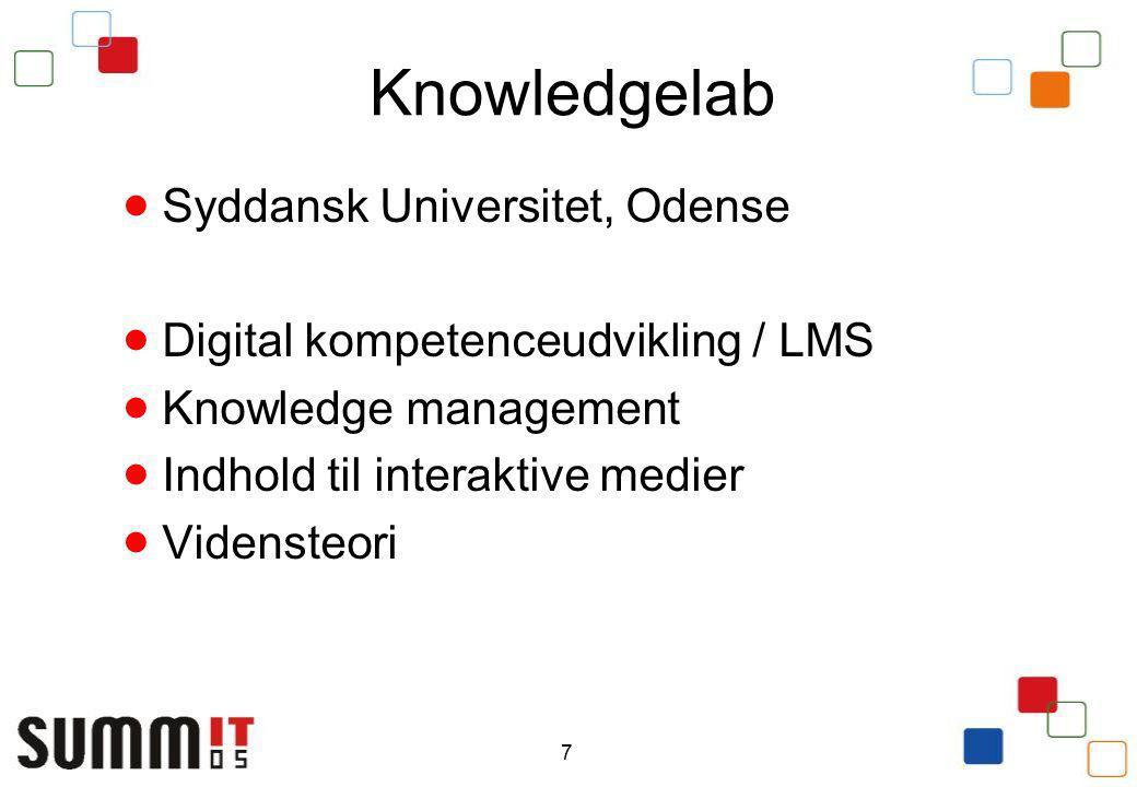 7 Knowledgelab  Syddansk Universitet, Odense  Digital kompetenceudvikling / LMS  Knowledge management  Indhold til interaktive medier  Vidensteori