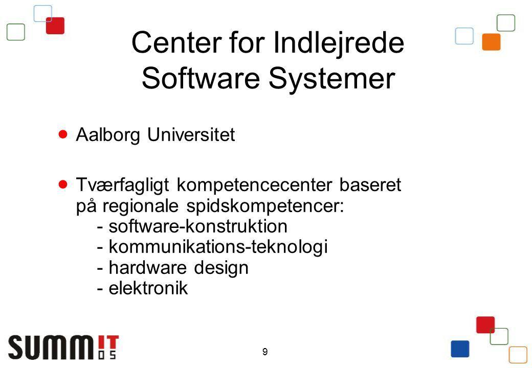 9 Center for Indlejrede Software Systemer  Aalborg Universitet  Tværfagligt kompetencecenter baseret på regionale spidskompetencer: - software-konstruktion - kommunikations-teknologi - hardware design - elektronik