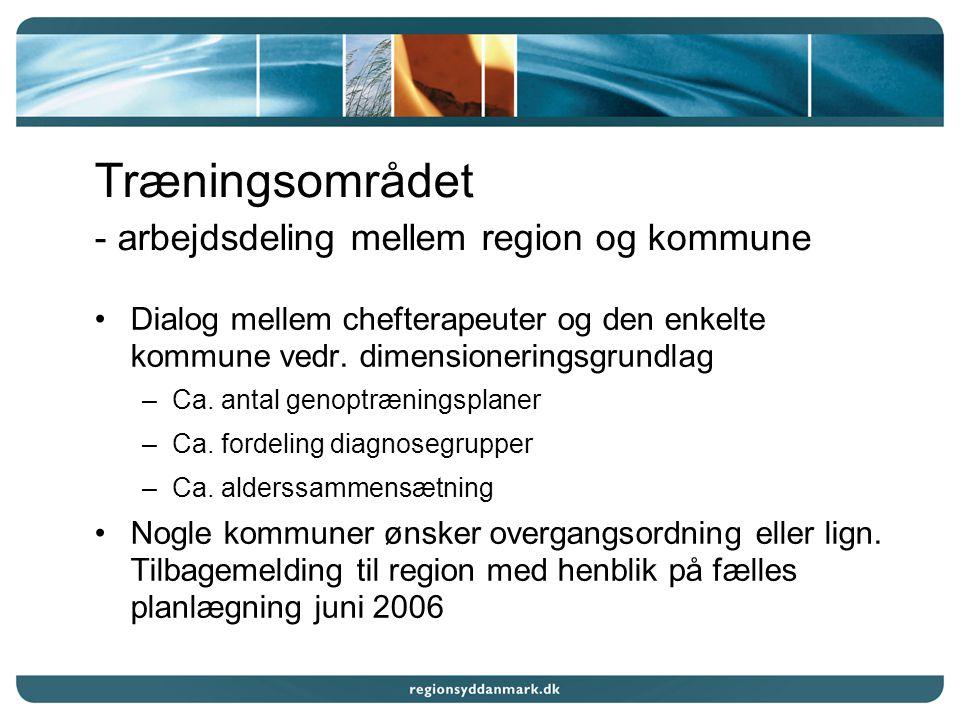 Træningsområdet - arbejdsdeling mellem region og kommune Dialog mellem chefterapeuter og den enkelte kommune vedr.