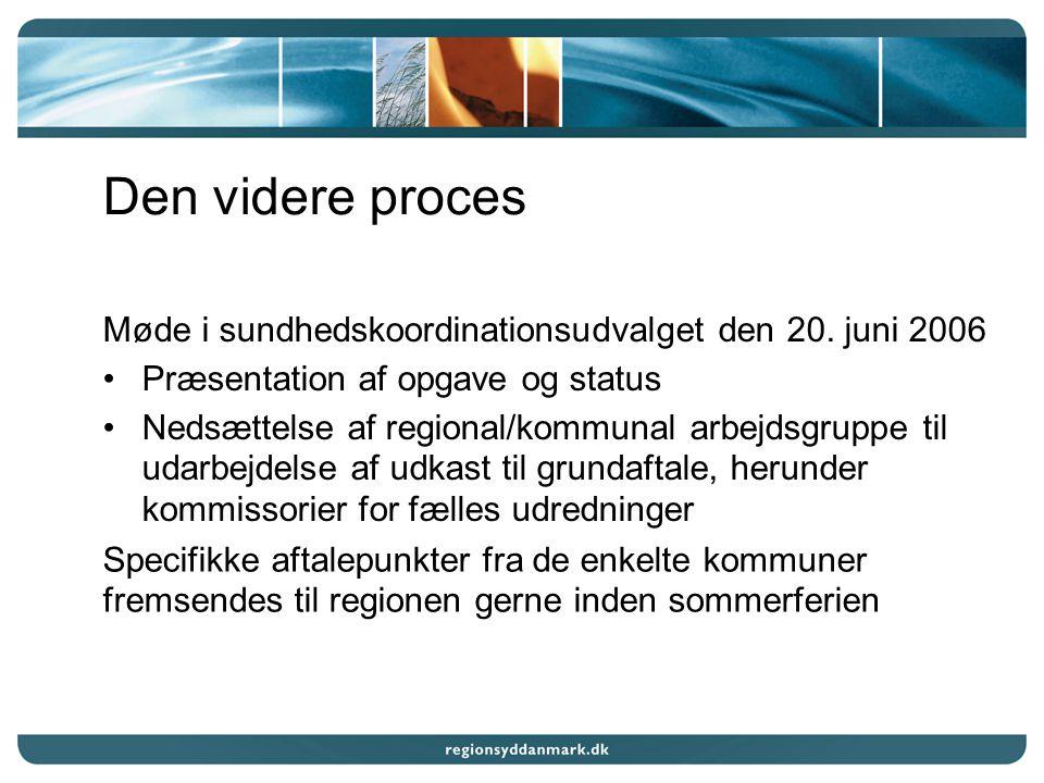 Den videre proces Møde i sundhedskoordinationsudvalget den 20.