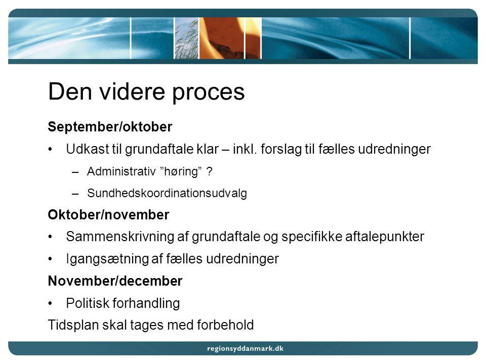 Den videre proces September/oktober Udkast til grundaftale klar – inkl.