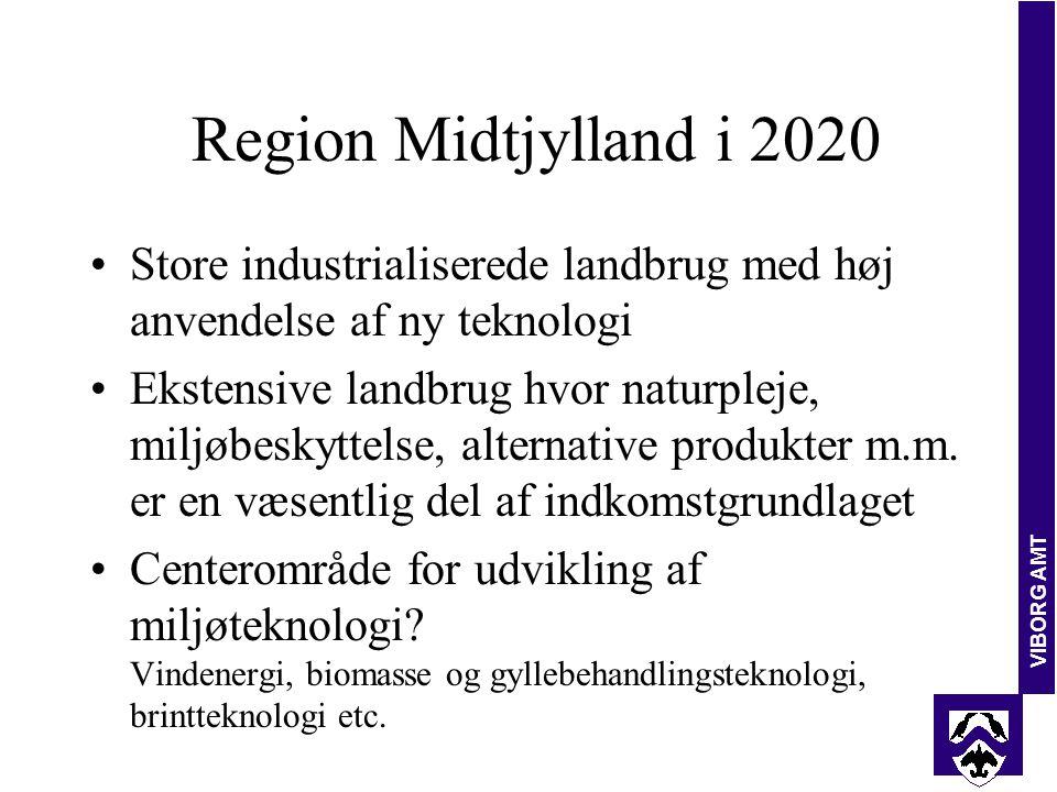 VIBORG AMT Region Midtjylland i 2020 Store industrialiserede landbrug med høj anvendelse af ny teknologi Ekstensive landbrug hvor naturpleje, miljøbeskyttelse, alternative produkter m.m.