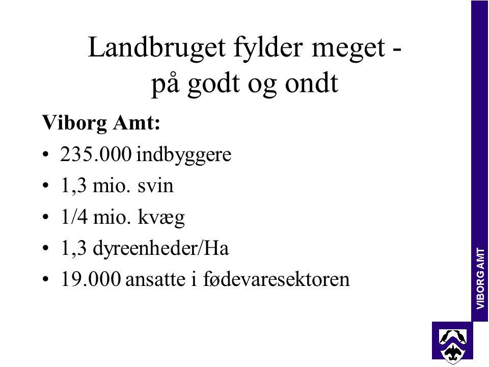 VIBORG AMT Landbruget fylder meget - på godt og ondt Viborg Amt: 235.000 indbyggere 1,3 mio.