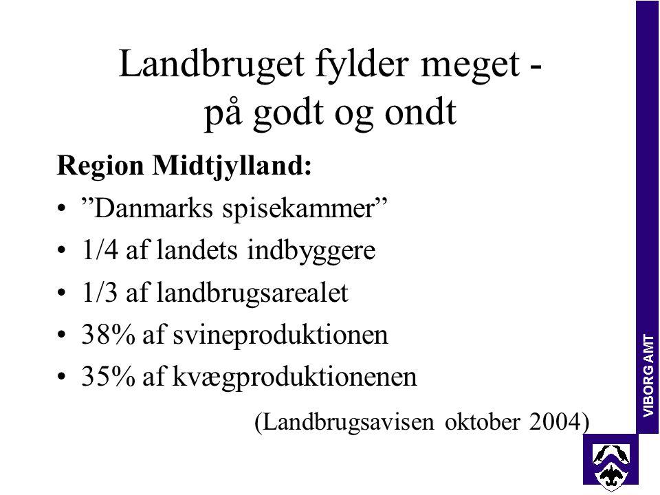 VIBORG AMT Landbruget fylder meget - på godt og ondt Region Midtjylland: Danmarks spisekammer 1/4 af landets indbyggere 1/3 af landbrugsarealet 38% af svineproduktionen 35% af kvægproduktionenen (Landbrugsavisen oktober 2004)