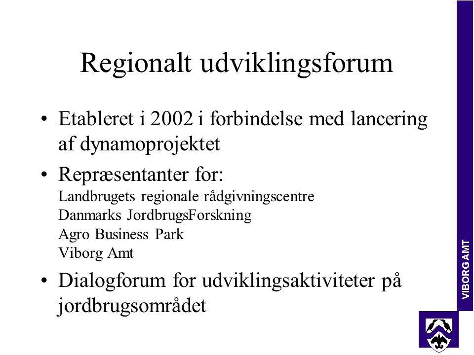 VIBORG AMT Regionalt udviklingsforum Etableret i 2002 i forbindelse med lancering af dynamoprojektet Repræsentanter for: Landbrugets regionale rådgivningscentre Danmarks JordbrugsForskning Agro Business Park Viborg Amt Dialogforum for udviklingsaktiviteter på jordbrugsområdet