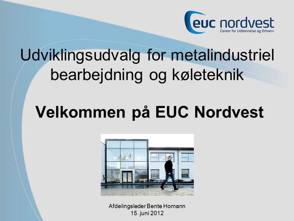 Udviklingsudvalg for metalindustriel bearbejdning og køleteknik Velkommen på EUC Nordvest Afdelingsleder Bente Homann 15.