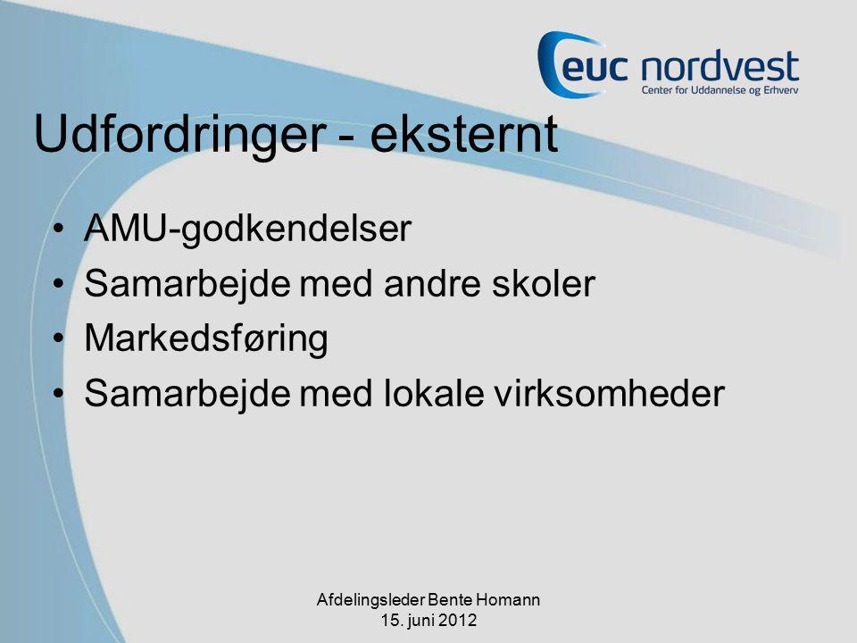 Udfordringer - eksternt AMU-godkendelser Samarbejde med andre skoler Markedsføring Samarbejde med lokale virksomheder Afdelingsleder Bente Homann 15.
