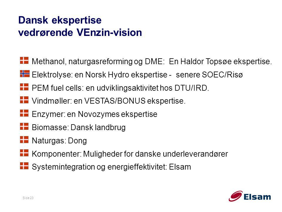 Side 23 Dansk ekspertise vedrørende VEnzin-vision Methanol, naturgasreforming og DME: En Haldor Topsøe ekspertise.