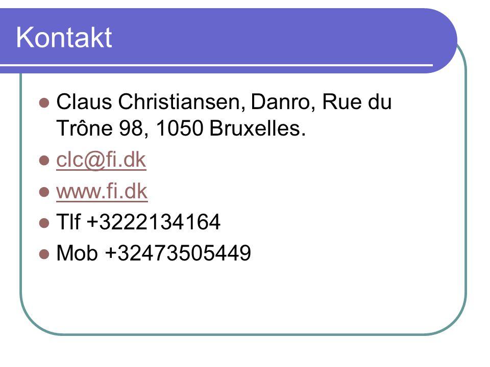 Kontakt Claus Christiansen, Danro, Rue du Trône 98, 1050 Bruxelles.