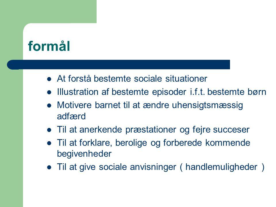 formål At forstå bestemte sociale situationer Illustration af bestemte episoder i.f.t.