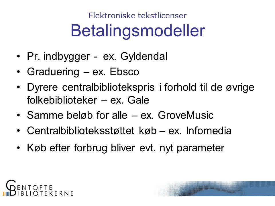 Elektroniske tekstlicenser Betalingsmodeller Pr. indbygger - ex.