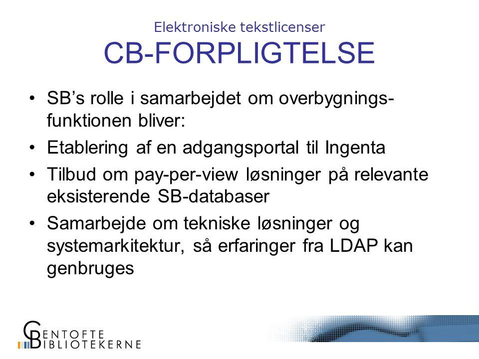 Elektroniske tekstlicenser CB-FORPLIGTELSE SB's rolle i samarbejdet om overbygnings- funktionen bliver: Etablering af en adgangsportal til Ingenta Tilbud om pay-per-view løsninger på relevante eksisterende SB-databaser Samarbejde om tekniske løsninger og systemarkitektur, så erfaringer fra LDAP kan genbruges