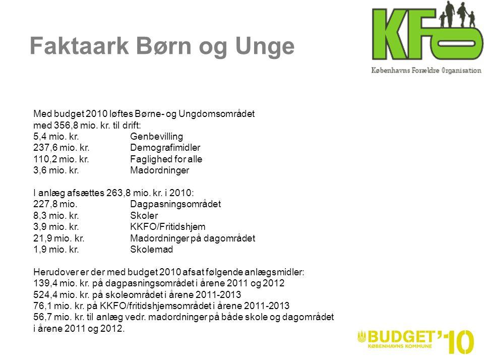 Med budget 2010 løftes Børne- og Ungdomsområdet med 356,8 mio.