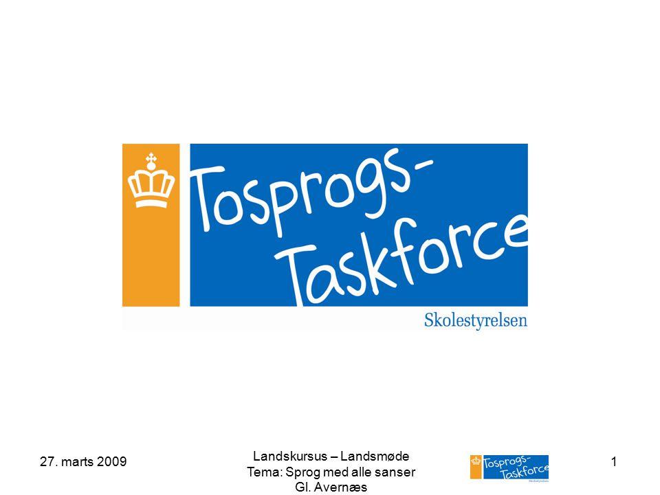 27. marts 2009 Landskursus – Landsmøde Tema: Sprog med alle sanser Gl. Avernæs 1