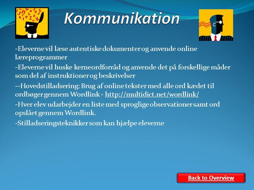 -Eleverne vil læse autentiske dokumenter og anvende online læreprogrammer -Eleverne vil huske kerneordforråd og anvende det på forskellige måder som del af instruktioner og beskrivelser --Hovedstilladsering: Brug af online tekster med alle ord kædet til ordbøger gennem Wordlink - http://multidict.net/wordlink/http://multidict.net/wordlink/ -Hver elev udarbejder en liste med sproglige observationer samt ord opslået gennem Wordlink.
