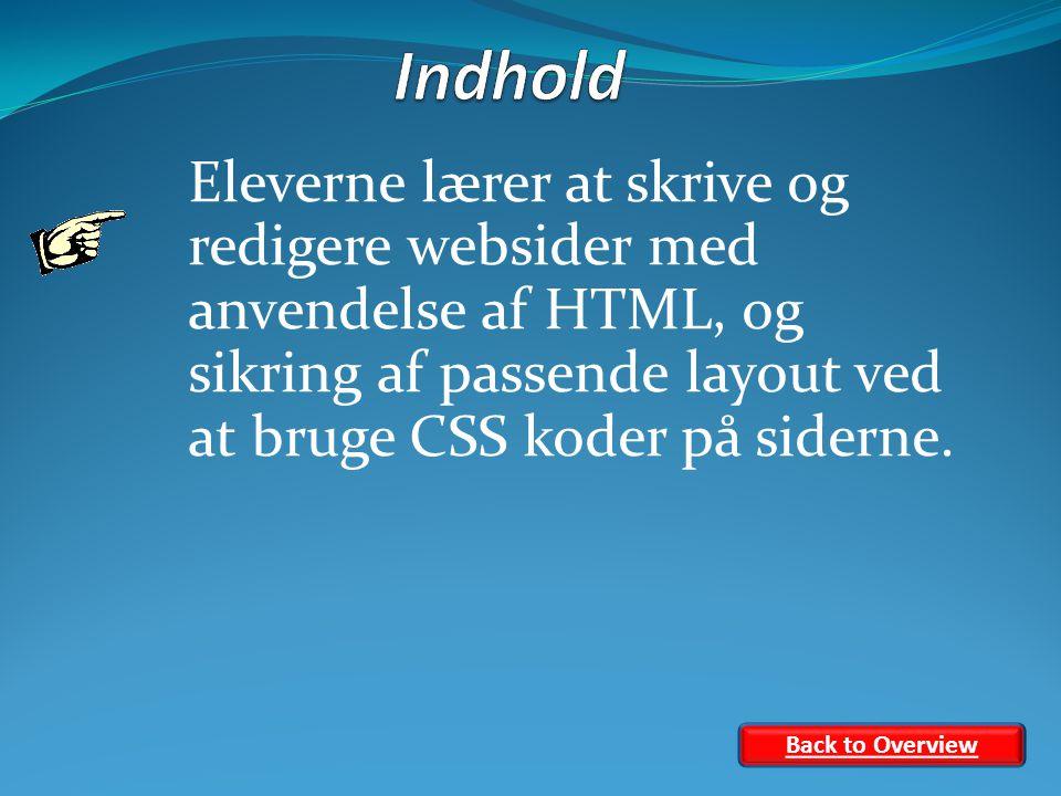 Eleverne lærer at skrive og redigere websider med anvendelse af HTML, og sikring af passende layout ved at bruge CSS koder på siderne.