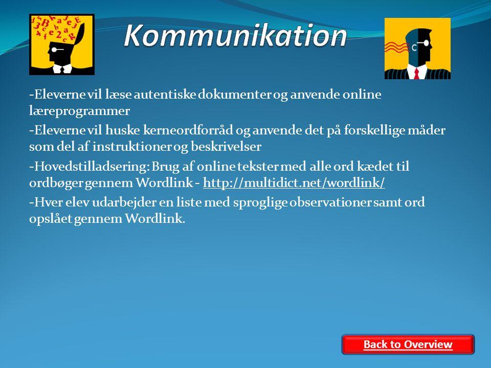 -Eleverne vil læse autentiske dokumenter og anvende online læreprogrammer -Eleverne vil huske kerneordforråd og anvende det på forskellige måder som del af instruktioner og beskrivelser -Hovedstilladsering: Brug af online tekster med alle ord kædet til ordbøger gennem Wordlink - http://multidict.net/wordlink/http://multidict.net/wordlink/ -Hver elev udarbejder en liste med sproglige observationer samt ord opslået gennem Wordlink.