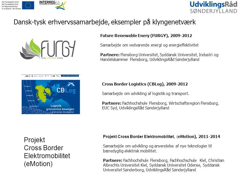 Future Renewable Enery (FURGY), 2009-2012 Samarbejde om vedvarende energi og energieffektivitet Partnere: Flensborg Universitet, Syddansk Universitet, Industri og Handelskammer Flensborg, UdviklingsRåd Sønderjylland Cross Border Logistics (CBLog), 2009-2012 Samarbejde om udvikling af logistik og transport.