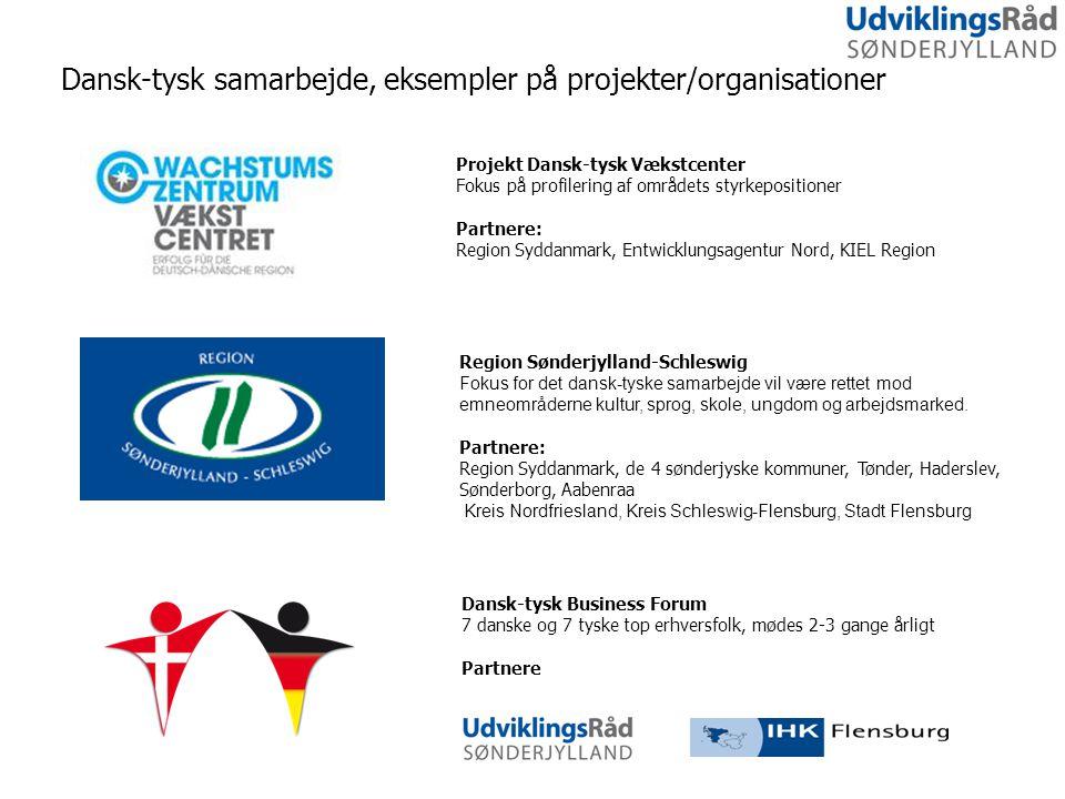 Dansk-tysk samarbejde, eksempler på projekter/organisationer Dansk-tysk Business Forum 7 danske og 7 tyske top erhversfolk, mødes 2-3 gange årligt Partnere Projekt Dansk-tysk Vækstcenter Fokus på profilering af områdets styrkepositioner Partnere: Region Syddanmark, Entwicklungsagentur Nord, KIEL Region Region Sønderjylland-Schleswig Fokus for det dansk-tyske samarbejde vil være rettet mod emneområderne kultur, sprog, skole, ungdom og arbejdsmarked.