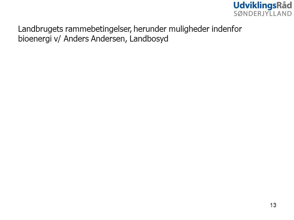Landbrugets rammebetingelser, herunder muligheder indenfor bioenergi v/ Anders Andersen, Landbosyd 13